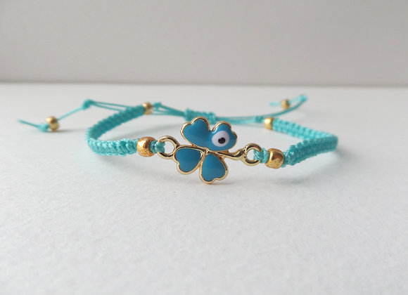 Gold Four Leaf Clover Bracelet, Turquoise Cord Bracelet