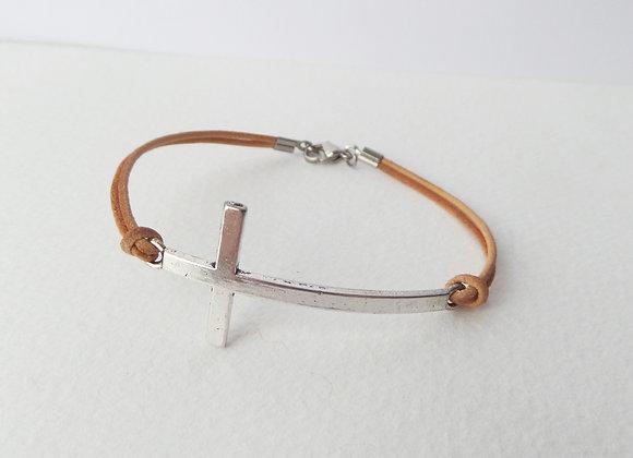 Men's Curved Cross, Natural Leather Bracelet