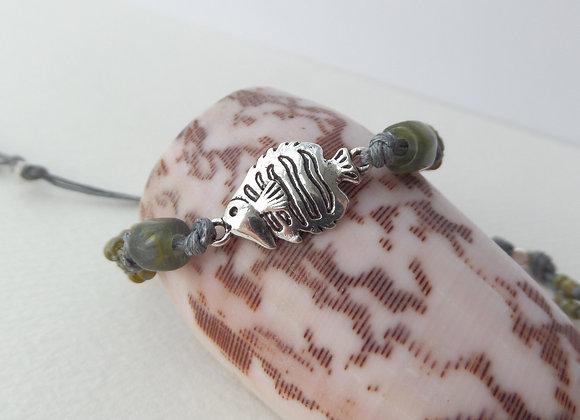 Silver Tropical Fish Bracelet, Khaki Macrame, Grey Cord Bracelet