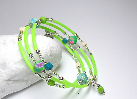 Neon Lime Bracelet, Polymer Clay bead and Rubber Memory Bangle
