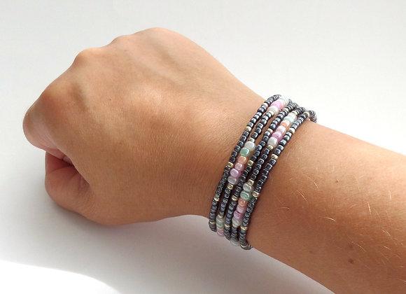 Pastel and Gunmetal Silver Bangle/Bracelet