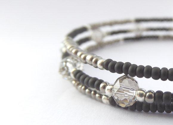 Grey Crystal Bracelet, Black Diamond Slim Memory Bangle