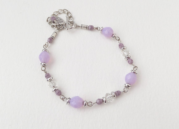 Lilac Clasp Bracelet, Purple, Glass, Clear Crystal and Silver Toggle Clasp