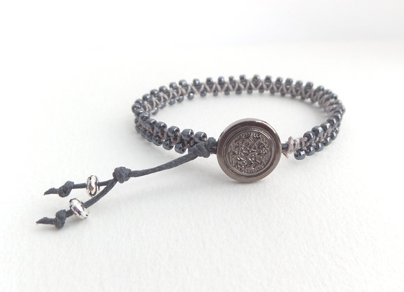 Blue-Black Bracelet, Gunmetal and Grey Macramé Bracelet