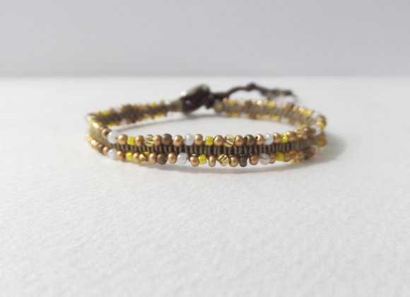 Matt Gold Bracelet, Brown Cotton Cord Bracelet