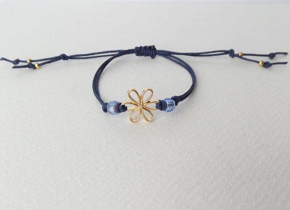 Gold Daisy Bracelet, Blue Beaded, Navy Blue Cord Bracelet