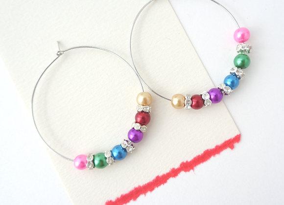 Colourful Beaded Hoop Silver Earrings