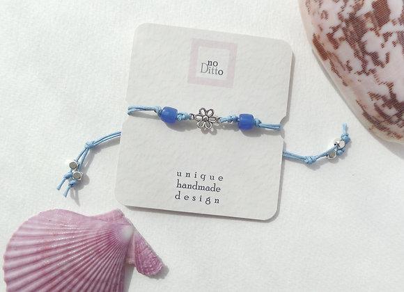 Tibetan Silver Flower Bracelet, Blue Beaded, Cord Bracelet