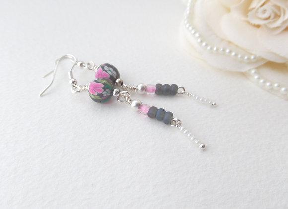 Grey and Pink Earrings, Long Silver Dangle Earrings