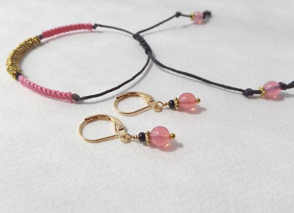 Strawberry Quartz, Earrings and Boho Gold Bracelet