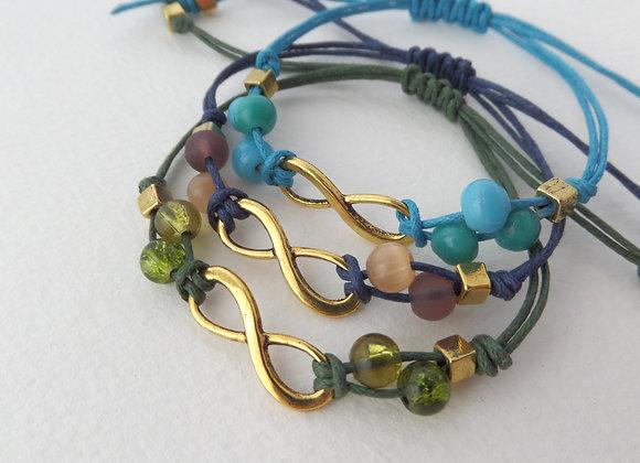 Antique Gold Infinity Symbol Bracelet, Cord Bracelet