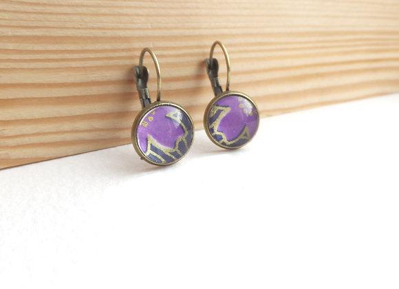 Purple Earrings, Antique Bronze Dangle Earrings