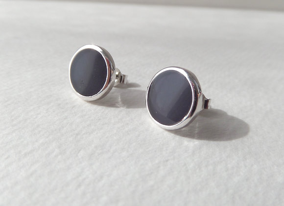 Blackcurrant Silver Studs, Deep Purple Round Earrings, 10mm Rhodium Plated Studs