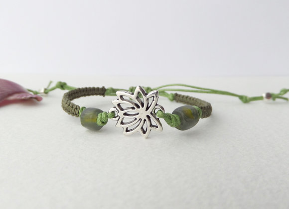 Antique Silver Lotus Flower Bracelet, Green Macrame Cord. Green Beaded