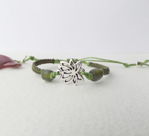 Antique Silver Lotus Flower Bracelet Green Macrame Cord Green Beaded