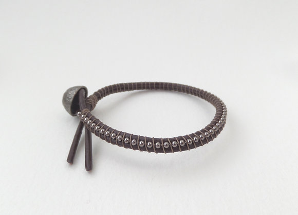 Brown Leather Bracelet, Gunmetal Clasp Bracelet