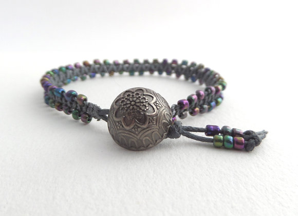 Purple Iris Bracelet, Gunmetal and Grey Macramé Bracelet