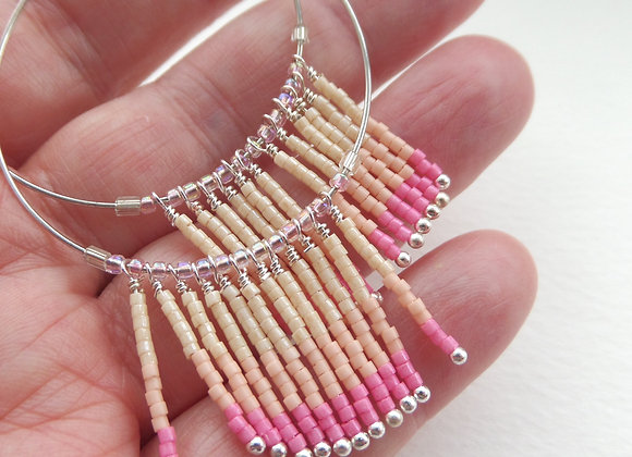 Pink Ombre Hoop Earrings, Silver Earrings