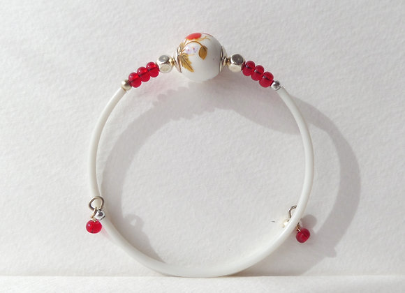 White, Red and Silver Bangle/Bracelet