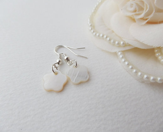 Mother Of Pearl Flower Earrings Silver Dangle