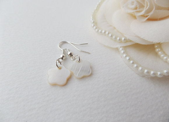 Mother Of Pearl Flower Earrings, Silver Dangle Earrings