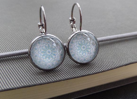 Pale Blue Lace Earrings, Gunmetal Dangle Earrings
