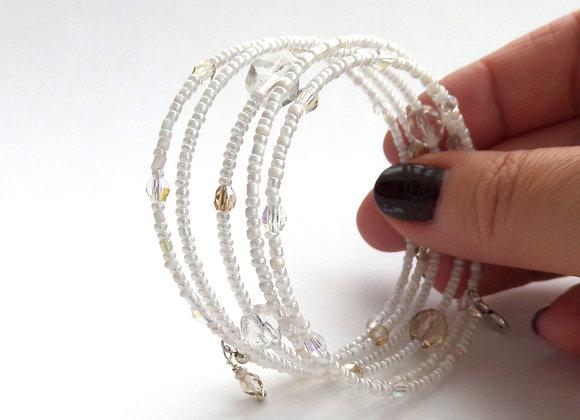 White and Honey Silver Bangle/Bracelet
