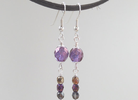 Purple Earrings, Drop Dangle Silver Earrings