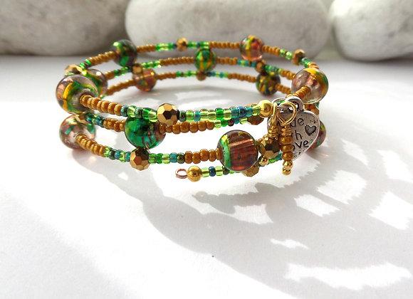 Caramel and Green Bangle, Gold Bracelet