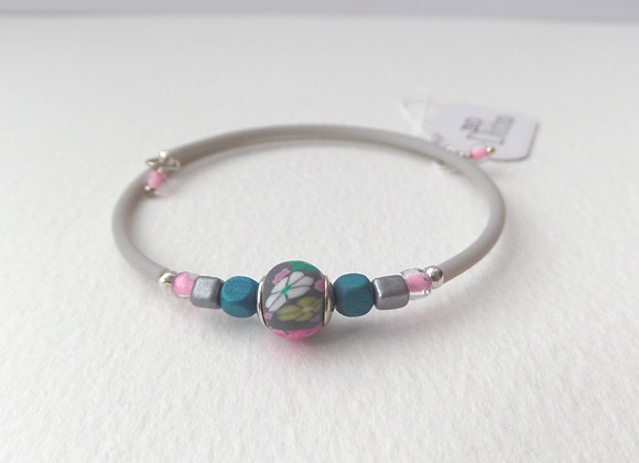 Polymer Clay Grey and Teal Bangle/Bracelet