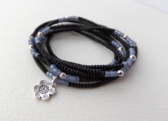 Black Blue, Multi Wrap Stretch Bracelet, Beaded Elastic, Silver Charm