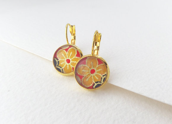 Yellow Japanese Blossom, Gold Earrings, hinged dangle earrings
