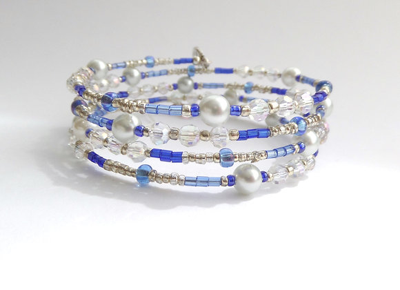Blue and Silver Bangle/Bracelet