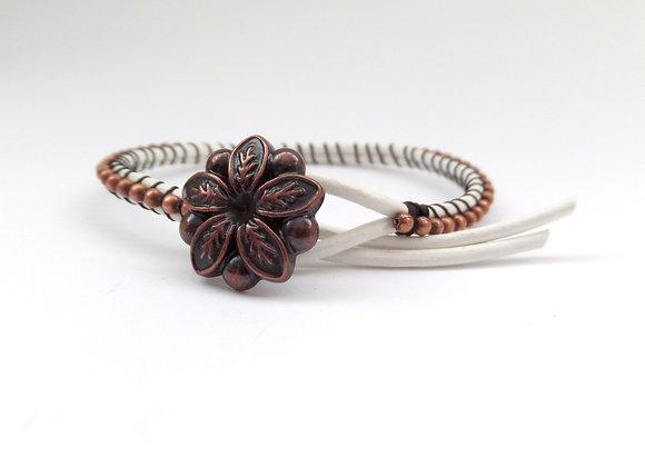 White Leather Bracelet, Copper Beaded, Copper Clasp Bracelet
