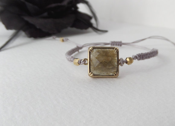 Labradorite Square Bracelet, Green and Antique Gold Bracelet, silver Macramé