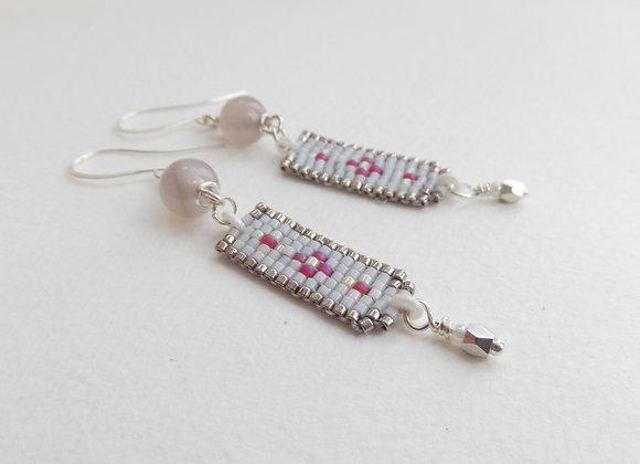 Long Grey and Pink bead Woven Dangle Silver Earrings