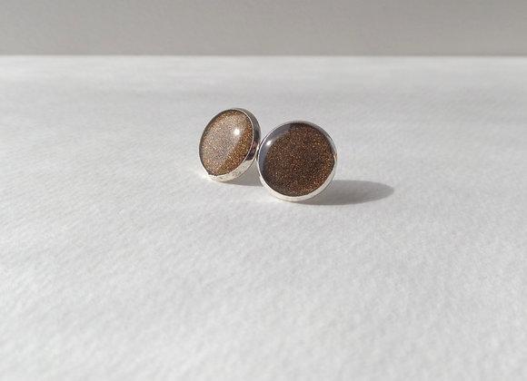 Bronze Metallic Linen Silver Studs, Brown Silver Stud, half inch earrings