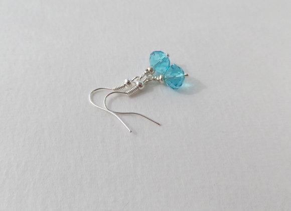 Turquoise Crystal Earrings, Drop Dangle Silver Earrings