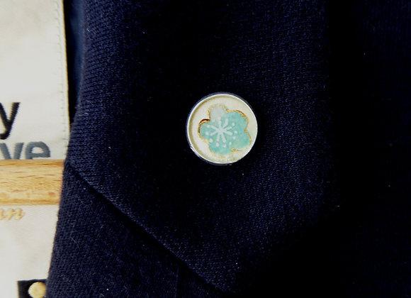 Aqua Flower Silver Tie Tack, Clutch back Brooch Pin, Badge
