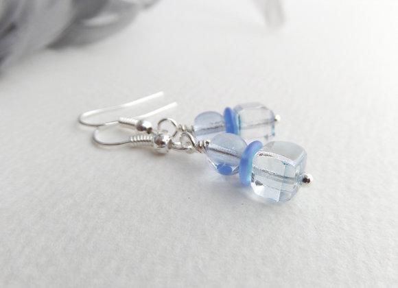 Pale Blue Crystal Cube Silver Earrings, hook drops