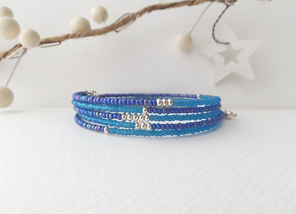Turquoise Blue and Silver Pip Bangle/Bracelet, teal and blue