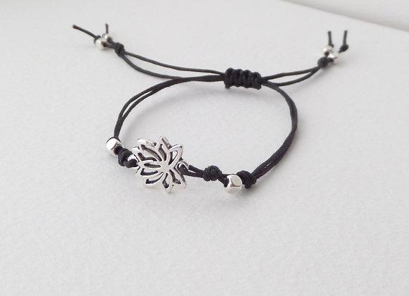 Lotus Flower Bracelet, Tibetan Silver, Black Cord Bracelet