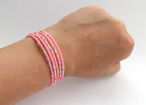 Salmon Pink and Peach, Silver Memory Bangle