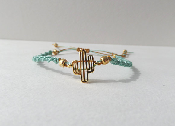 Gold Cactus Bracelet, Pale Green Cord Bracelet
