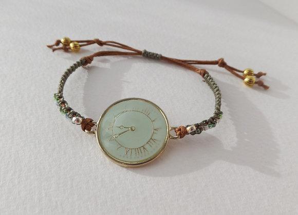 Mint Clock Face Bracelet, Gold and Brown Cotton Cord Bracelet