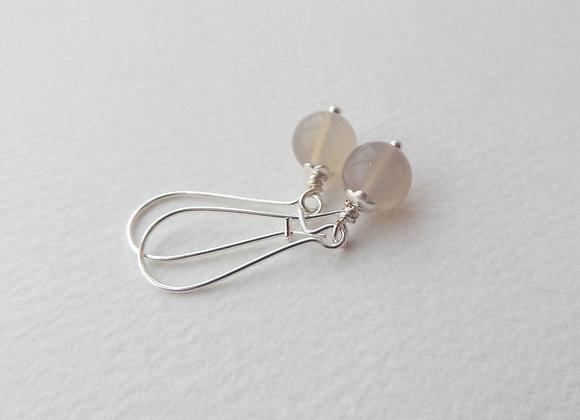 Neutral Earrings, Soft Brown Kidney Hook Silver Earrings