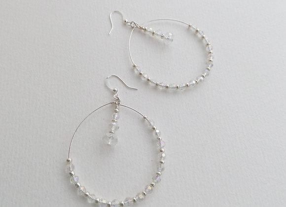 Clear Crystal Beaded Hoops, Crystal and Silver Earrings