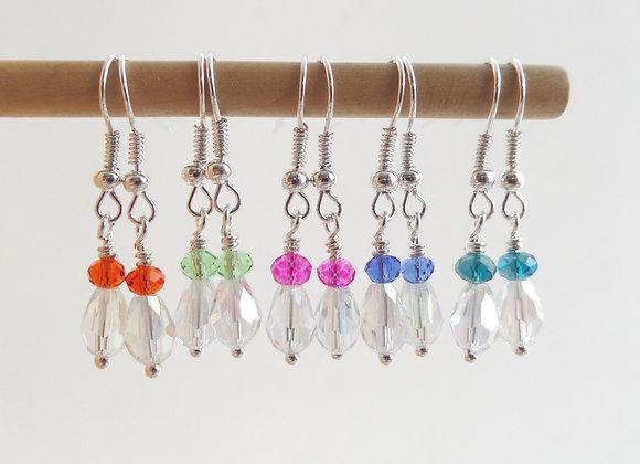 Colour Pop, Clear Peardrop Crystal Earrings, Dangle Silver Earrings