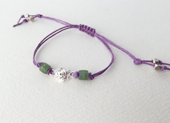 Silver Flower Bracelet, Green Beaded, Purple Cord Bracelet