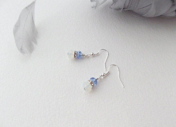 Blue and Moonstone Crystal Silver Earrings, dangle hook drops